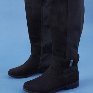 lane bryant To-The-Knee Buckle Boot Riding Black F